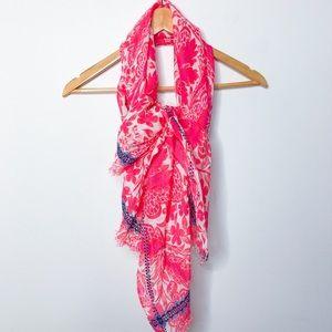 J. Crew Pink Paisley Bohemian Linen Blend Scarf